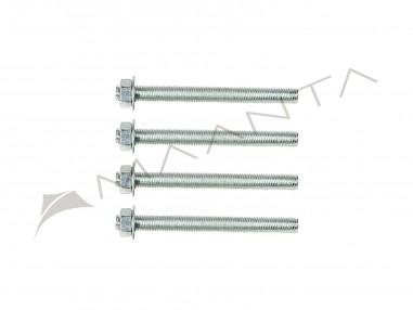 Set van 4 draadstangen van gegalvaniseerd staal M10 lengte 12 cm